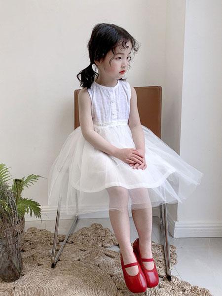 妹妹恩倪童装品牌2019春夏新款蕾丝拼接网纱背心裙洋气白色连衣裙