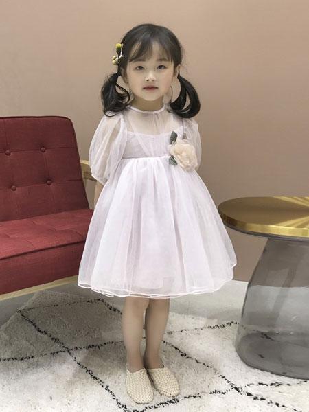 妹妹恩倪童装品牌2019春夏洋气中大童宫廷袖白色蓬蓬网纱裙