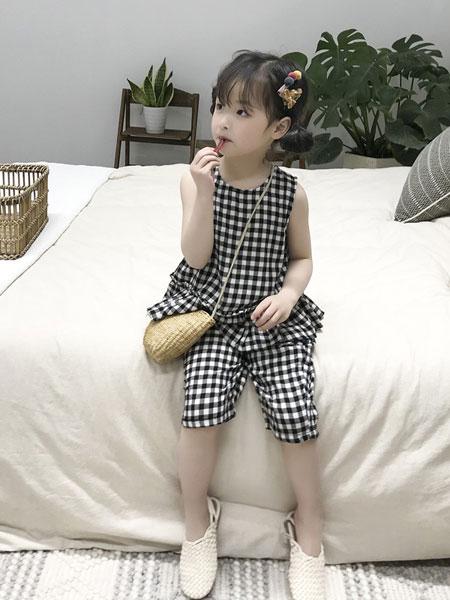 妹妹恩倪童装品牌2019春夏韩版洋气格子上衣裤子两件套装潮
