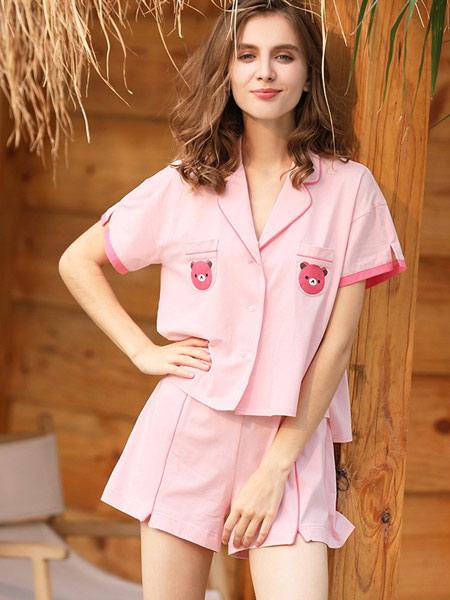 歌兰莉内衣品牌2019春夏新款纯棉短袖清新可爱甜美性感家居服套装