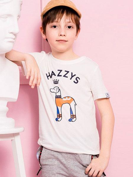 哈吉斯童装品牌2019春夏新款韩版时尚圆领纯棉短袖t恤
