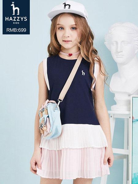 哈吉斯童装品牌2019春夏新款时髦洋气拼接圆领无袖连衣裙