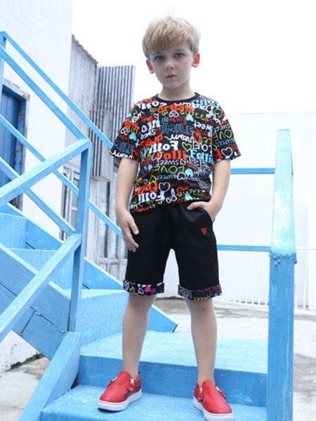 Folli Follie童装品牌2019春夏新款韩版时尚印花图案短袖T恤