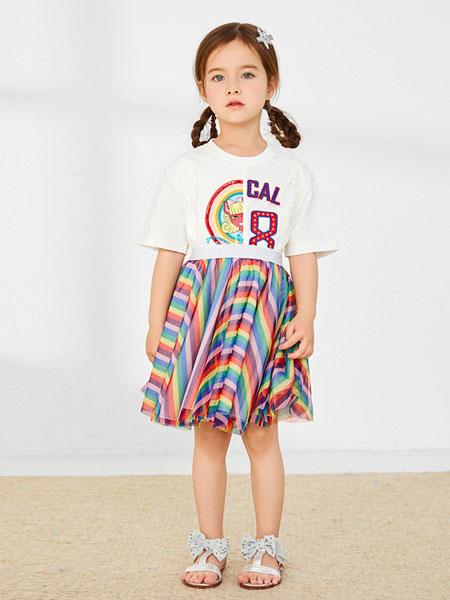 太平鸟童装童装品牌2019春夏新款女童短袖T恤卡通蕾丝拼接连衣裙