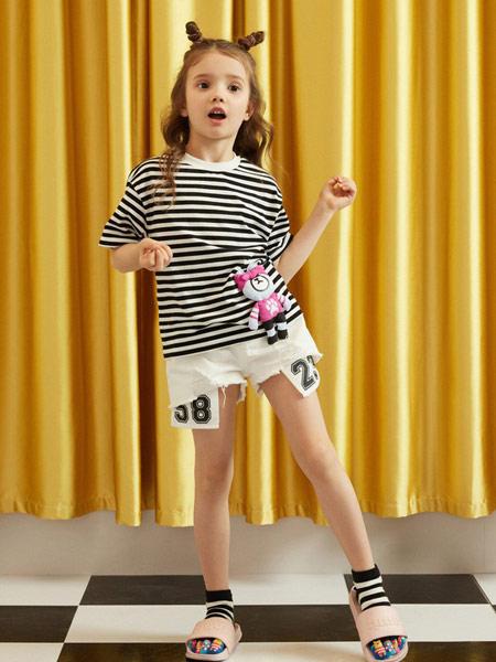 gxgkids童装品牌2019春夏新款时尚休闲黑白条纹短袖T恤