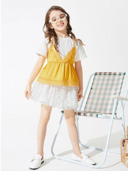 gxgkids童装品牌2019春夏新款拼接纯棉假两件吊带短袖T恤衫