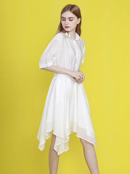 cc+di charme女装品牌2019春夏重工钉珠盘花白色连衣裙