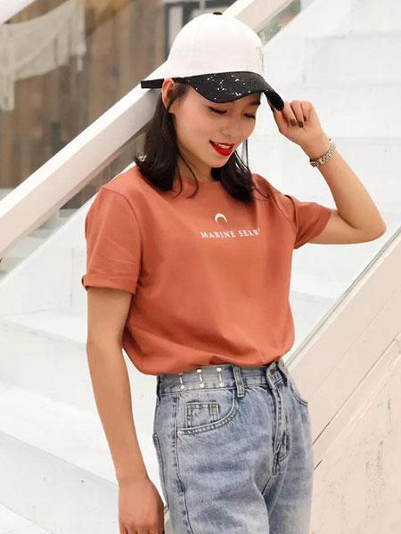cc+di charme女装品牌2019春夏新款韩版百搭圆领字母上衣潮