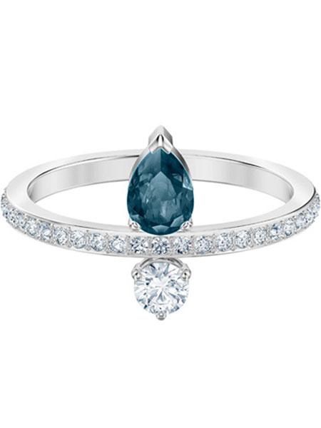 施华洛世奇潮流饰品品牌2019春夏優雅大方藍色水晶戒指
