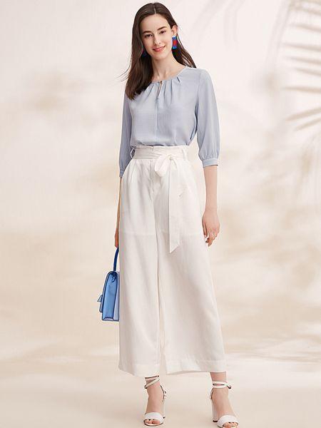 春美多女装品牌2019春夏圆领宽松内搭衬衫时尚雪纺上衣