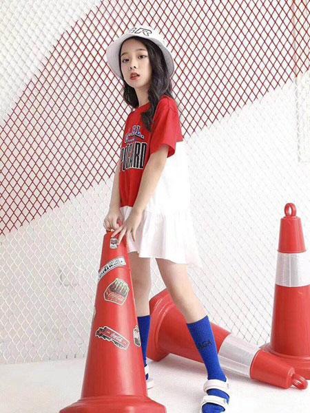 贝贝依依童装品牌2019春夏新款洋气运动裙子潮短袖连衣裙