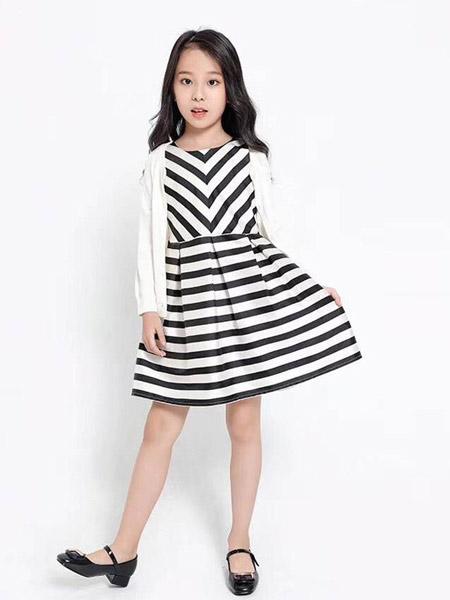 贝贝依依童装品牌2019春夏新款洋气条纹时尚短袖连衣裙