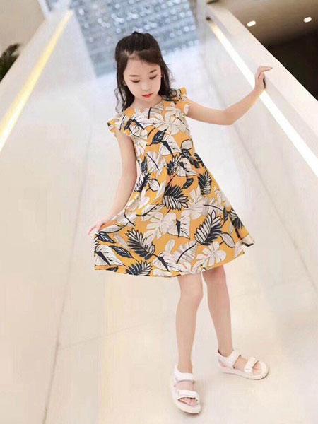 贝贝依依童装品牌2019春夏新款时尚洋气背心裙沙滩裙