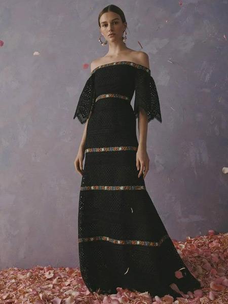 Carolina Herrera卡罗琳娜・海莱娜女装品牌2019春夏新款复古时尚高腰名媛气质不规则连衣裙
