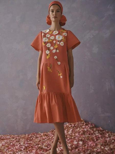 Carolina Herrera卡�_琳娜・海�R娜女�b品牌2019春夏新款�r尚��松短袖�B衣裙