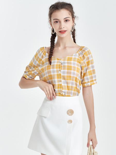 艾丽莎女装品牌2019春夏新款单排多扣小清晰韩系简约休闲格子衬衫