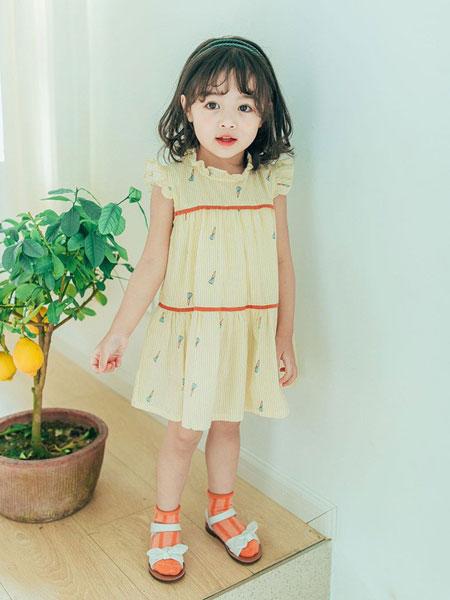 创印象童装品牌2019春夏女童韩版胡萝卜拼接连衣裙