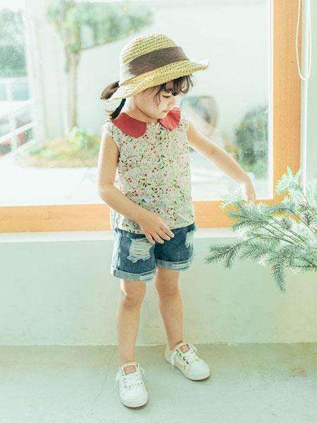 创印象童装品牌2019春夏无袖翻领印花衬衫 儿童上衣新款