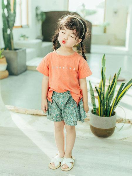 创印象童装品牌2019春夏百搭短袖韩范纯棉简约橙色T恤