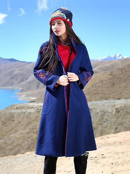 草书女装品牌新款民族风宽松中长款长袖开衫外套