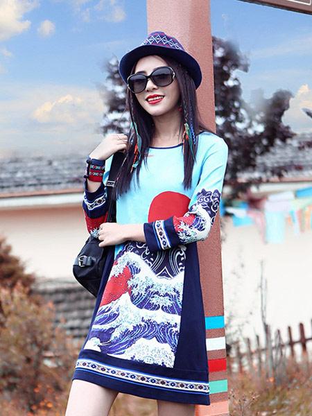 草书女装品牌新款时尚复古民族风连衣裙