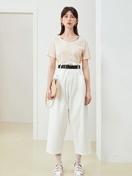 Less女装品牌2019春夏薄款高腰休闲显瘦直筒长裤潮
