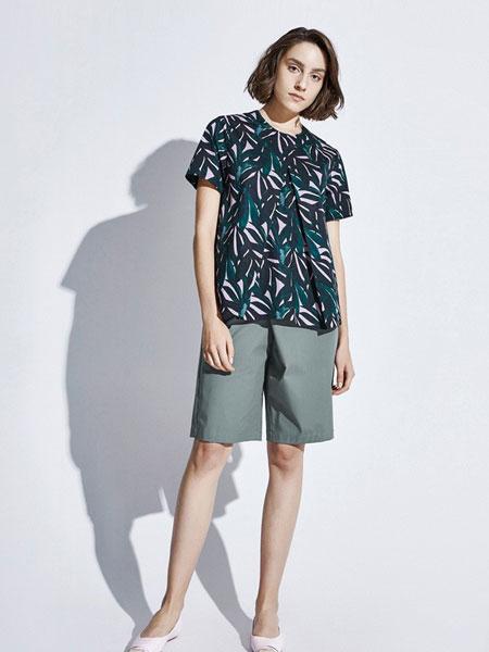 Less女装品牌2019春夏新款时尚圆领印花短袖衬衣棉舒适