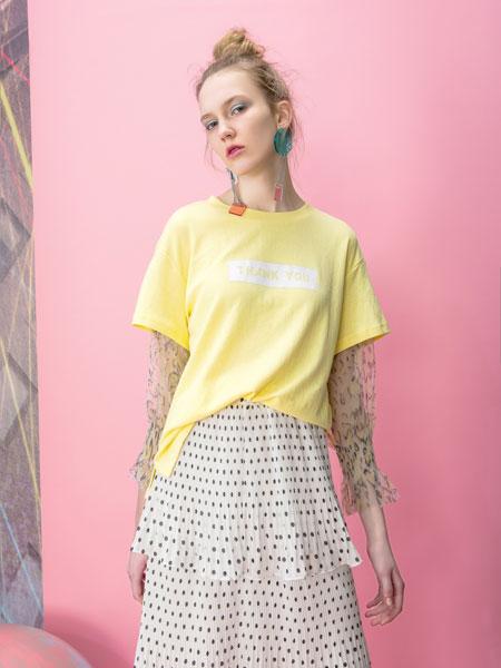 MOOSY女装品牌2019春夏糖果色宽松大版开叉圆领七分短袖T恤衫