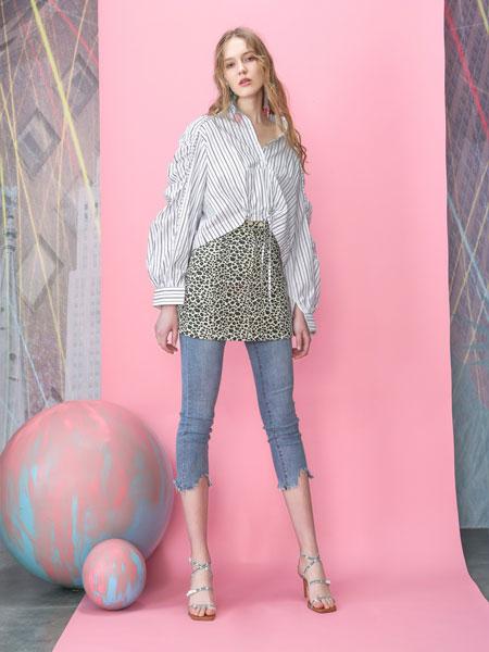 MOOSY女装品牌2019春夏时尚简约气质上衣新款条袖衬衫