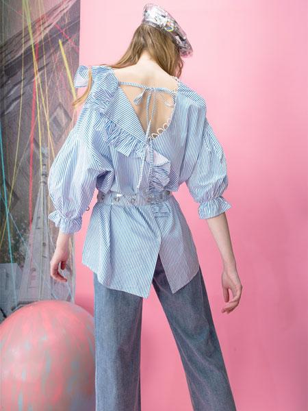 MOOSY女装品牌2019春夏新款韩版纯棉中长款条纹冤泡泡袖宽松衬衫潮