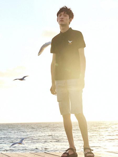 贝斯堡peacebird男装品牌2019春夏新款韩版时尚宽松休闲百搭翻领短袖T恤