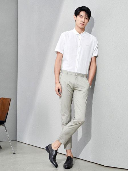 海澜之家男装品牌2019春夏新款舒适休闲纯色修身百搭短袖衬衫