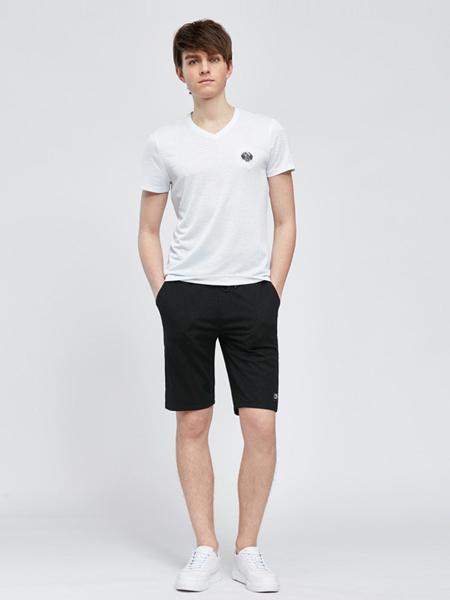 利郎男装品牌2019春夏新款休闲V领纯色打底上衣百搭薄款短袖T恤