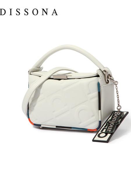 Dissona迪桑娜箱包品牌2019春夏新款包包斜挎真皮单肩包撞色手提包时尚休闲包包
