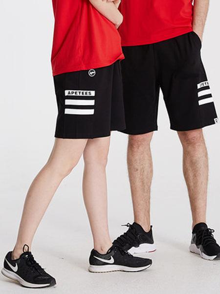 安逸猿休闲品牌2019春夏新款黑色简约休闲短裤运动裤五分裤