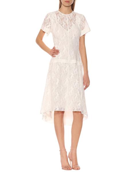 艾克妮女装品牌2019春夏新款气质甜美优雅蕾丝不对称中长连衣裙