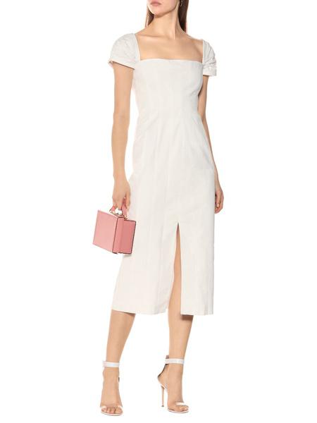 艾克妮女装品牌2019春夏新款气质白色晚礼服优雅中长款连衣裙