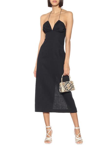 艾克妮女装品牌2019春夏新款时尚亚麻挂脖系带中长连衣裙
