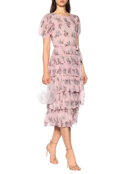 艾克妮女装品牌2019春夏新款时尚很仙的雪纺碎花连衣裙长裙