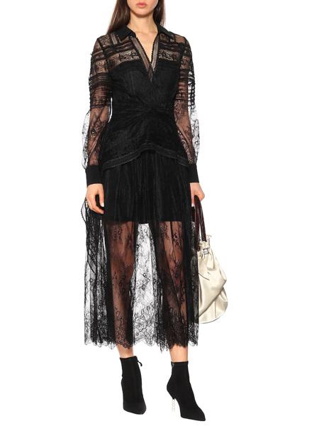 爱乐亦捷女装品牌2019春夏新款黑色V领花边蕾丝衬衫连衣长裙