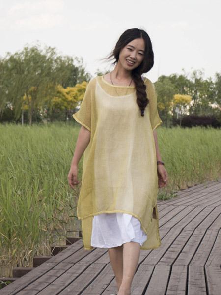 草堂女装品牌2019春夏新款宽松文艺气质棉麻连衣裙