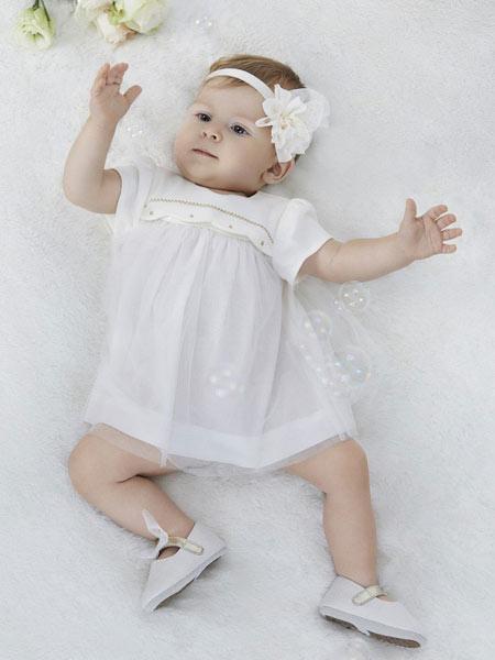 阳光鼠童装品牌2019春夏新款韩版时尚纯棉公主裙短袖连衣裙