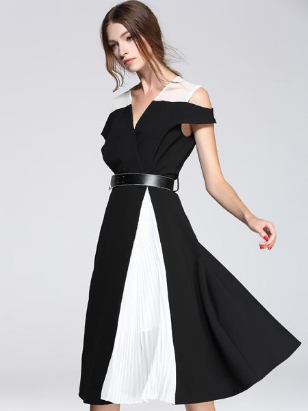 西逅女装品牌2019春夏新款韩版条纹甜美收腰显瘦过膝长裙显瘦a字裙