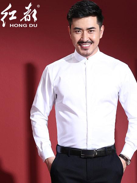 红都男装品牌2019春夏新款韩版时尚商务休闲修身衬衫