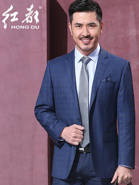 红都男装品牌2019春夏新款韩版时尚休闲商务修身西服套装