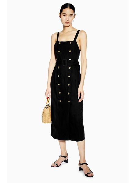 Topshop女装品牌2019春夏新款时尚双排纽扣显瘦连衣裙