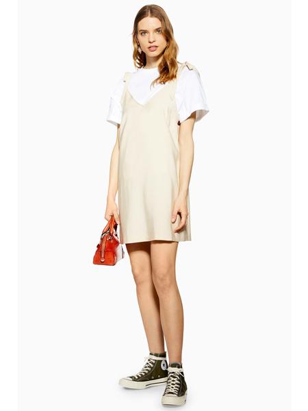Topshop女装品牌2019春夏新款显瘦v领连衣裙时尚气质蕾丝拼接宽松吊带裙潮