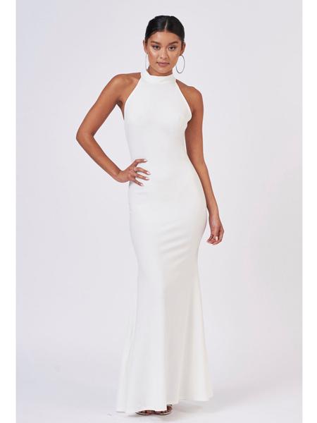 Topshop女装品牌2019春夏新款气质系领无袖修身白色挂脖中长连衣裙