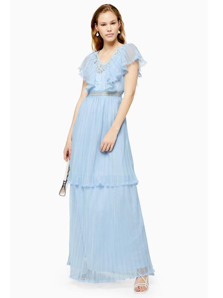 Topshop女装品牌2019春夏新款甜美蕾丝拼接连衣裙