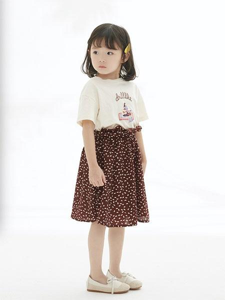 马沫含童装品牌2019春夏新款短袖T恤半身裙时尚两件套装